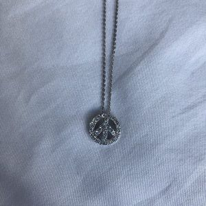 Jewelry - Peace sign necklace with diamond detailing